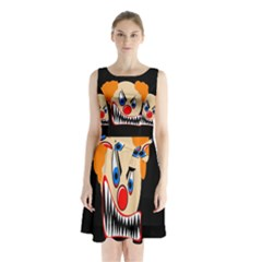 Evil Clown Sleeveless Waist Tie Dress
