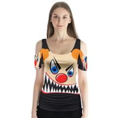 Evil clown Butterfly Sleeve Cutout Tee