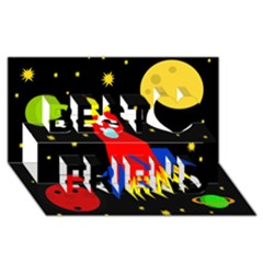 Spaceship Best Friends 3D Greeting Card (8x4)