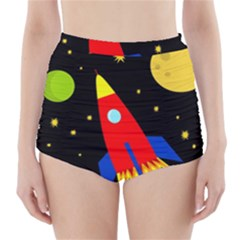 Spaceship High-Waisted Bikini Bottoms