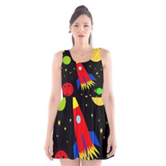 Spaceship Scoop Neck Skater Dress