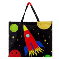 Spaceship Zipper Large Tote Bag