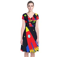 Spaceship Short Sleeve Front Wrap Dress