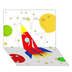 Transparent spaceship Clover 3D Greeting Card (7x5)