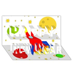 Transparent spaceship Happy New Year 3D Greeting Card (8x4)