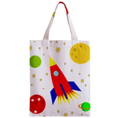 Transparent spaceship Zipper Classic Tote Bag