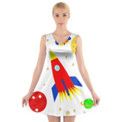 Transparent spaceship V-Neck Sleeveless Skater Dress