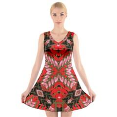 Art Digital (19)gfhhkhi99kkyjy[ [ V Neck Sleeveless Skater Dress
