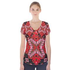 Art Digital (19)gfhhkhi99kkyjy[ [ Short Sleeve Front Detail Top