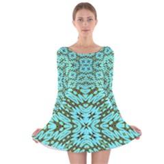 FAKE SKY NIGHT Long Sleeve Velvet Skater Dress