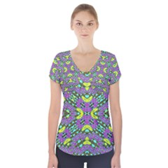 Violet Violin Short Sleeve Front Detail Top