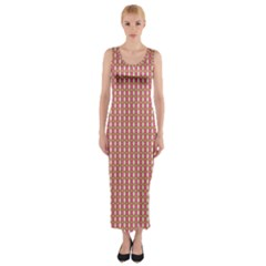 Mod Pink Green Pattern Fitted Maxi Dress