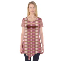 Mod Pink Green Pattern Short Sleeve Tunic