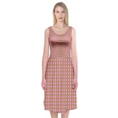 Mod Pink Green Pattern Midi Sleeveless Dress