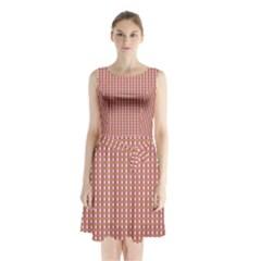 Mod Pink Green Pattern Sleeveless Waist Tie Dress
