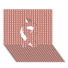 Mod Pink Green Pattern Ribbon 3D Greeting Card (7x5)