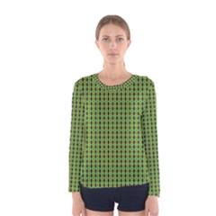Mod Green Orange Pattern Women s Long Sleeve Tee