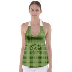 Mod Green Orange Pattern Babydoll Tankini Top