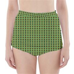 Mod Green Orange Pattern High Waisted Bikini Bottoms