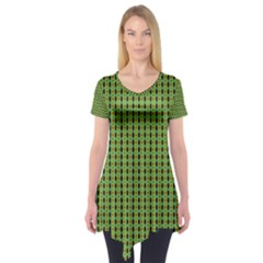 Mod Green Orange Pattern Short Sleeve Tunic