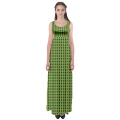 Mod Green Orange Pattern Empire Waist Maxi Dress