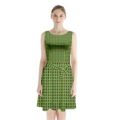 Mod Green Orange Pattern Sleeveless Waist Tie Dress