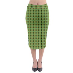 Mod Green Orange Pattern Midi Pencil Skirt