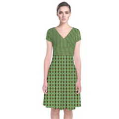 Mod Green Orange Pattern Short Sleeve Front Wrap Dress