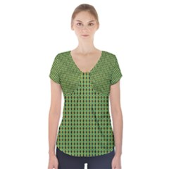 Mod Green Orange Pattern Short Sleeve Front Detail Top