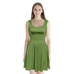 Mod Green Orange Pattern Split Back Mini Dress