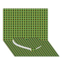 Mod Green Orange Pattern Heart Bottom 3D Greeting Card (7x5)