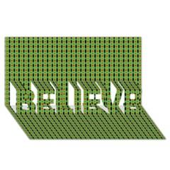 Mod Green Orange Pattern BELIEVE 3D Greeting Card (8x4)