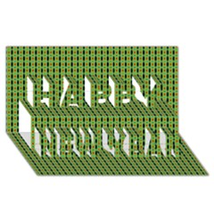 Mod Green Orange Pattern Happy New Year 3d Greeting Card (8x4)