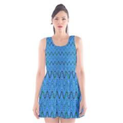 Blue Wavy Squiggles Scoop Neck Skater Dress