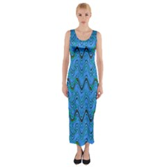 Blue Wavy Squiggles Fitted Maxi Dress