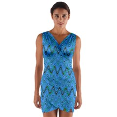 Blue Wavy Squiggles Wrap Front Bodycon Dress