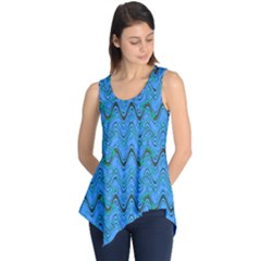 Blue Wavy Squiggles Sleeveless Tunic