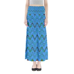 Blue Wavy Squiggles Maxi Skirts