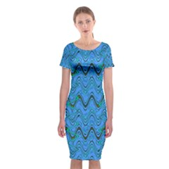 Blue Wavy Squiggles Classic Short Sleeve Midi Dress