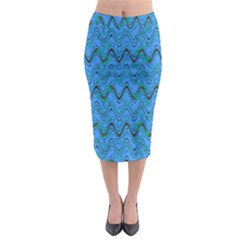 Blue Wavy Squiggles Midi Pencil Skirt
