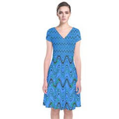 Blue Wavy Squiggles Short Sleeve Front Wrap Dress