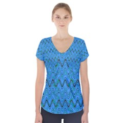Blue Wavy Squiggles Short Sleeve Front Detail Top