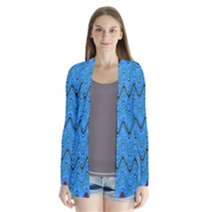 Blue Wavy Squiggles Drape Collar Cardigan