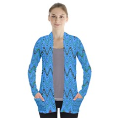 Blue Wavy Squiggles Women s Open Front Pockets Cardigan(p194)