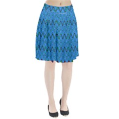 Blue Wavy Squiggles Pleated Mesh Skirt