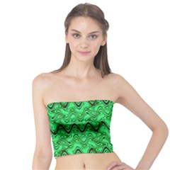 Green Wavy Squiggles Tube Top