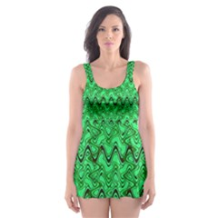 Green Wavy Squiggles Skater Dress Swimsuit