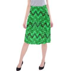 Green Wavy Squiggles Midi Beach Skirt
