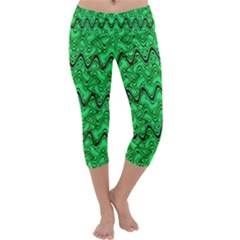 Green Wavy Squiggles Capri Yoga Leggings