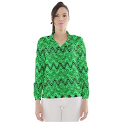 Green Wavy Squiggles Wind Breaker (Women)